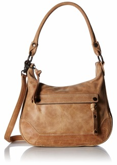 FRYE Melissa Zip Small Leather Hobo Crossbody beige