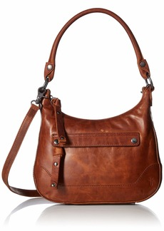 FRYE Melissa Zip Small Leather Hobo Crossbody cognac