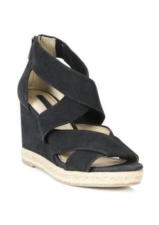 Frye Roberta Crisscross Suede Wedge Sandals