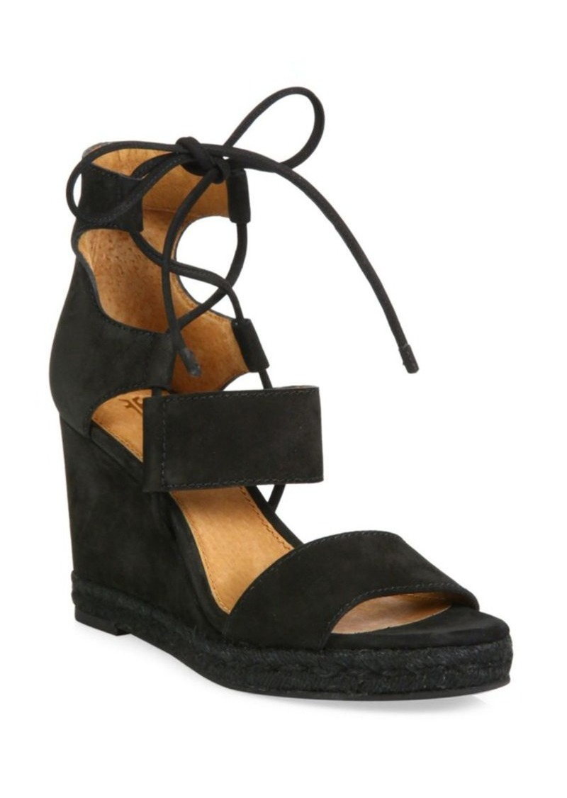 Frye Roberta Ghillie Nubuck Leather Wedge Sandals