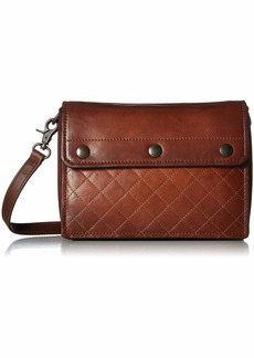 FRYE Samantha Quilted Leather Crossbody Bag cognac
