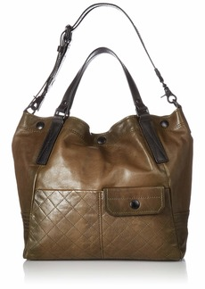 FRYE Samantha Quilted Leather Shoulder Handbag fatigue