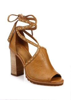 Frye Suzie Pickstitch Leather Lace-Up Sandals