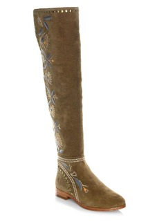 Frye Tina Over-The-Knee Embroidered Suede Boots
