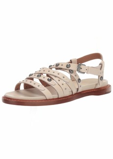 FRYE Women's Andora Deco Strappy Sandal Flat off white  M US