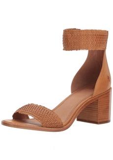 FRYE Women's Bianca Woven Back Zip Heeled Sandal tan  M US
