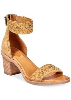 Frye Women's Brielle Deco Back-Zip Block-Heel Sandals Women's Shoes