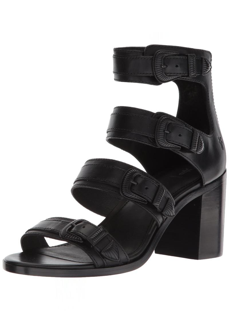 FRYE Women's Danica Western Buckle Heeled Sandal black  M US