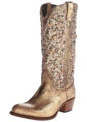FRYE Women's Deborah Studded Tall Western Boot Gold  M US