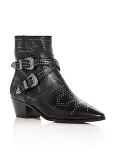 Frye Women's Ellen Leather Double Buckle Mid Heel Booties