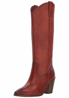 FRYE Women's Faye Stitch Pull On Western Boot red Clay  M US