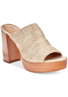 Frye Women's Katie Woven Block-Heel Slides Women's Shoes
