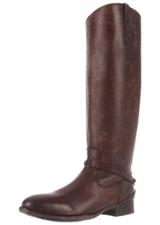 FRYE Women's Lindsay Plate Knee-High Boot Dark Brown Stone Wash Leather