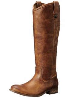 FRYE Women's Melissa Button Boot Cognac Washed Antique Pull-Up
