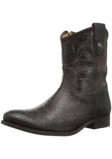 FRYE Women's Melissa Button Short Boot Chocolate Glazed Vintage Leather