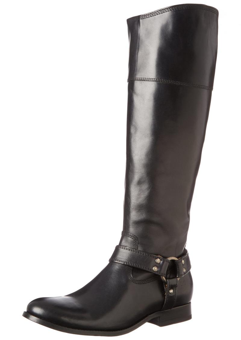 Frye Women's Melissa Harness Inside Zip Black Soft Vintage Leather Boot  B - Medium