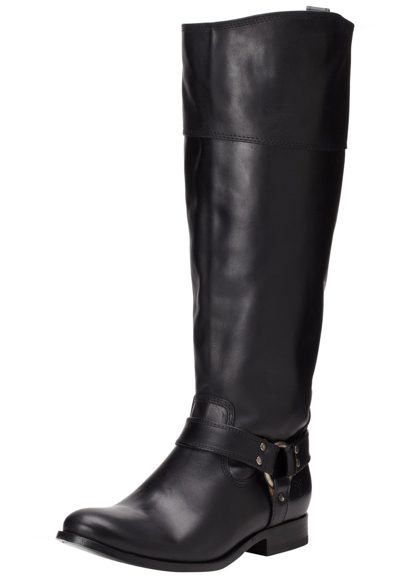 FRYE Women's Melissa Harness InSide-Zip Boot Black Smooth Vintage Leather Wide Calf  M US