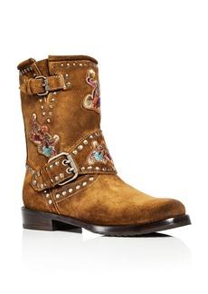 Frye Women's Nat Flower Embellished Suede Engineer Boots