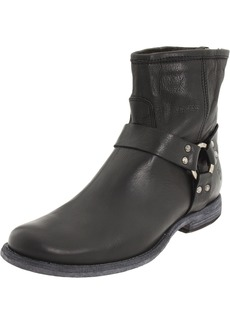 FRYE Women's Phillip Harness Ankle Boot Black Soft Vintage Leather