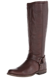FRYE Women's Phillip Harness Tall Boot: Wide Calf Dark Brown Soft Vintage Leather Wide Calf