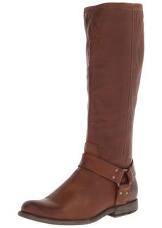FRYE Women's Phillip Harness Tall medium calf Boot Cognac Soft Vintage Leather