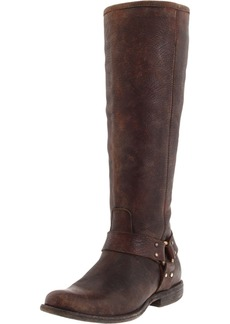 FRYE Women's Phillip Harness Tall medium calf Boot Dark Brown Soft Vintage Leather