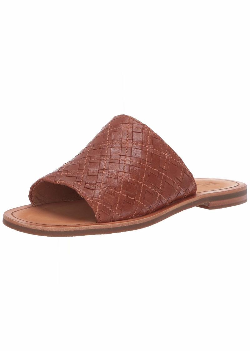 FRYE Women's Robin Woven Slide Flat Sandal cognac  M US