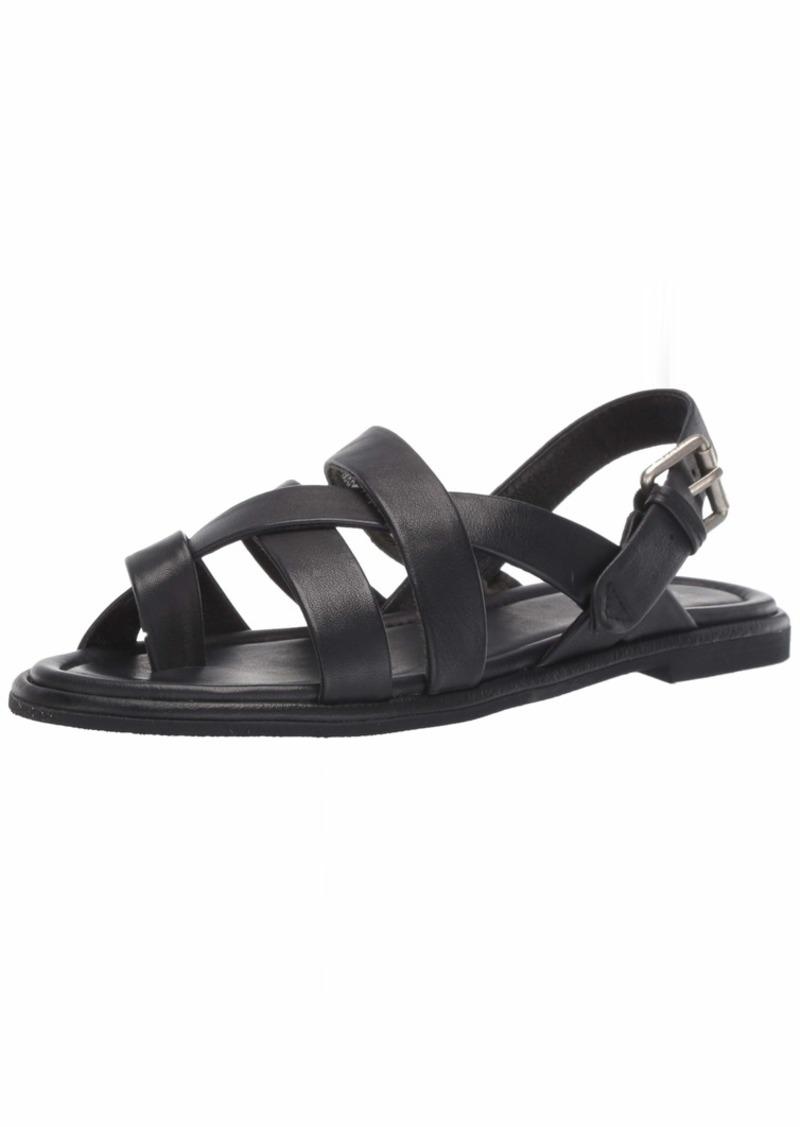 FRYE Women's Tait Softy Criss Cross Flat Sandal black  M US