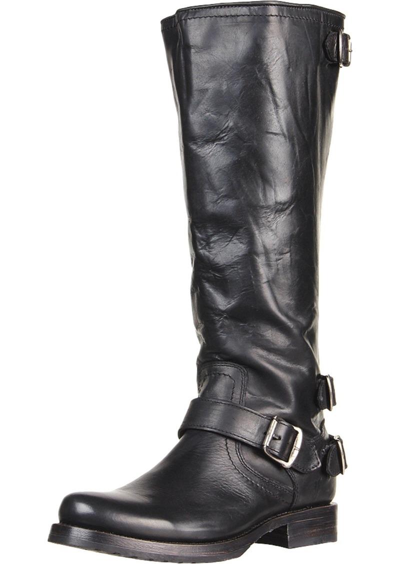 FRYE Women's Veronica Back-Zip Boot Black Soft Vintage Leather  M US