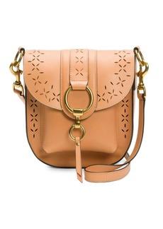 Frye Ilana Tan Perforated Leather Saddle Bag