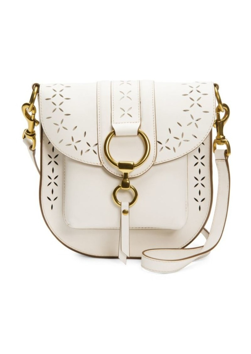 48a91f1088 Frye Ilana White Perforated Leather Saddle Bag