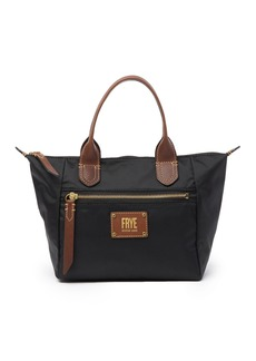 Frye Ivy Small Nylon Leather Trimmed Top Handle Bag