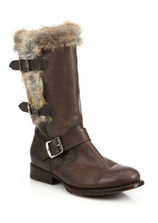 Frye Jamie Lux Moto Rabbit Fur-Trimmed Leather Mid-Calf Boots