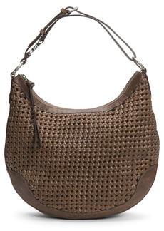 Frye Melissa Leather Woven Scooped Hobo Bag