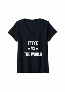 Womens FRYE Vs The World Family Reunion Last Name Team Custom V-Neck T-Shirt