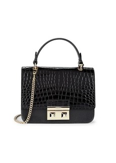 Furla Bella Croc-Embossed Leather Top Handle Bag