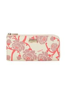 Furla Floral Leather Zip-Around Wallet