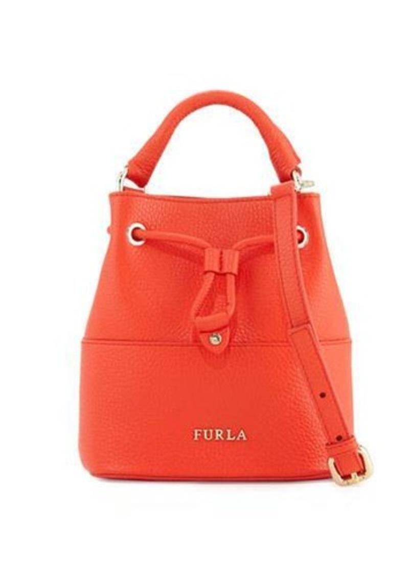 Furla Brooklyn Small Leather Drawstring Bucket Bag