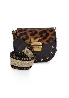 Furla Club Printed Flap Leather Saddle Bag