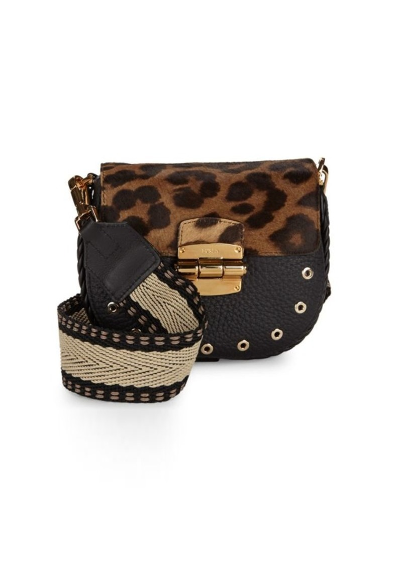 Furla Club Printed Flap Leather Saddle Bag Brown