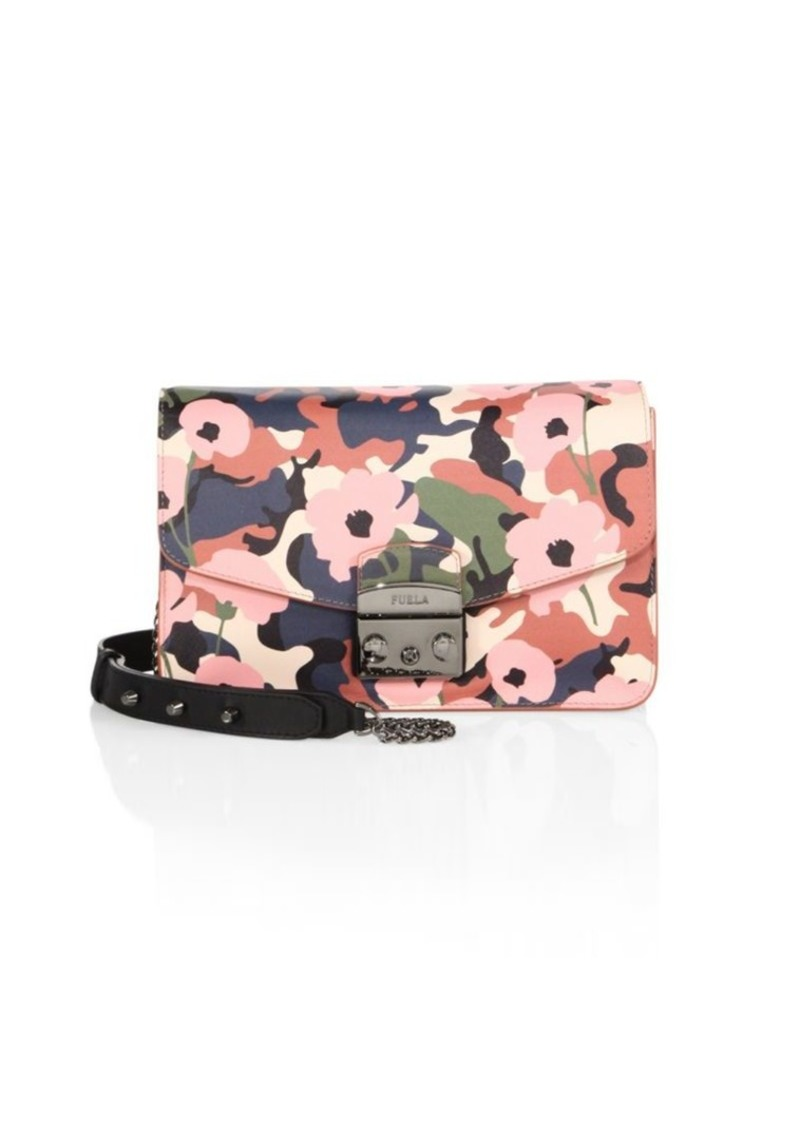 Furla Metropolis Flower Print Leather Crossbody Bag Handbags