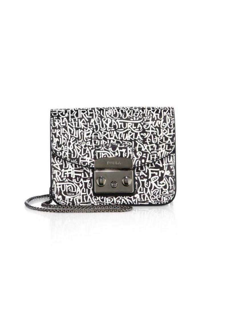 Furla Monochrome Printed Leather Crossbody Bag
