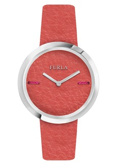 Furla Piper Leather Dial Leather Strap Watch, 34mm