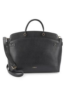 Furla Solid Leather Satchel