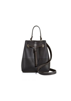 Furla Stacey Drawstring Perforated Small Leather Bucket Bag