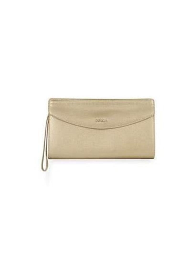 Furla Tea Xl Metallic Leather Envelope Clutch Bag