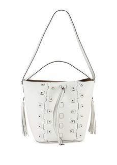Furla Vittoria Glam Leather Drawstring Bucket Bag