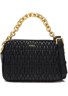 Furla Woman Cometa Quilted Leather Shoulder Bag Black