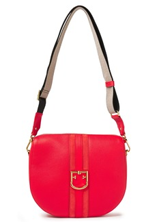 Furla Woman Gioia S Suede-trimmed Pebbled-leather Shoulder Bag Red