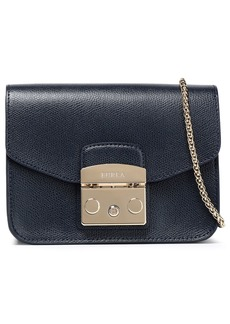 Furla Woman Metropolis Mini Textured-leather Shoulder Bag Midnight Blue